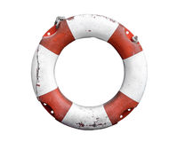 Isolated Rustic Lifebuoy Or Life Preserver. Isolated Grungy Lifebuoy Or Life Preserver With Rope On White Background Stock Image