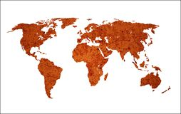 Isolated rusty world map. Isolated World map with three different grunge texture layers Stock Photo