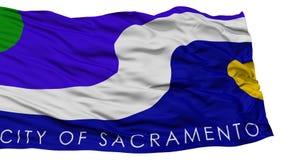 Isolated Sacramento Flag, Waving on White Background Royalty Free Stock Photo