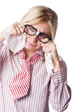 Isolated Sad Business Woman Crying Into Tissue Stock Images
