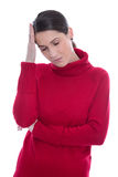 Isolated sad and sorrowful young woman with headache or migraine Stock Photos