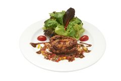 Isolated of salad and deep fried soft-shelled crap in white plat. E. Clipping path and white background Stock Image