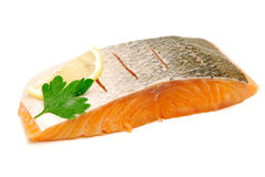 Isolated  salmon fillet Stock Photos