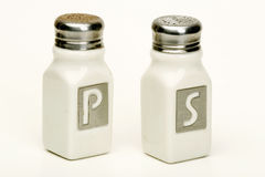 Isolated salt and pepper shakers stock image