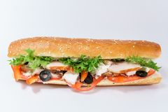 Chicken breast sandwich, fresh tomatoes, olives and lettuceview from above stock photography