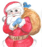 Isolated Santa Claus with sack and bird. Santa Claus with gift sack and cute blue bird, Christmas illustration hand made with watercolors Royalty Free Stock Images