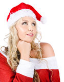 Isolated Santa Woman Thinking Up Blank Copyspace Stock Photo