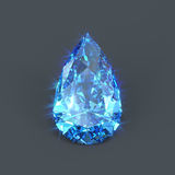 Isolated sapphire pear drop shaped Royalty Free Stock Images