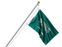 Isolated Saudi Arabian Flag Royalty Free Stock Photo