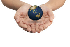 Isolated: save the earth. Isolated: hand holding a globe, save the earth concept Stock Illustration
