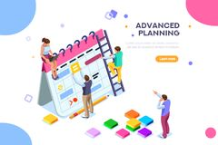 Isolated schedule concept or planner. Planning sticker, management images. Characters and people for presentations, professional clipart, web banner stock illustration