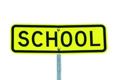 Isolated school sign on white royalty free stock photography