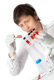 Isolated scientist woman in lab stock images