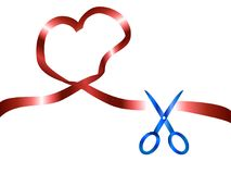 Scissors cut red heart ribbon background. Isolated scissors cutting red heart ribbon from white background Stock Image