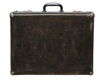 Isolated Scratched Vintage Brown Suitcase on a White Background Royalty Free Stock Photos