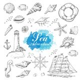 Isolated sea objects on a white background. Shells, starfish, anchor, lighthouse, fish, ship. Vector illustration for your design Stock Photo