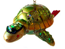 Isolated Sea Turtle Ornament. Isolated image of a sea turtle Christmas ornament stock photos