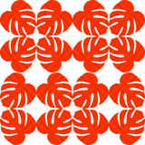 Isolated seamless texture with flat orange and red leaves. Monstera.Patterns for cloth Stock Image