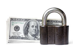 Isolated secure Dollars, Lock Stock Photo