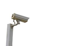 Isolated Security cctv camera. Security cctv camera on steel pole isolated on white background Royalty Free Stock Photography