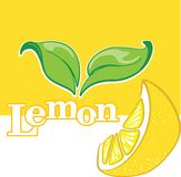 Isolated segment of lemon with green leaves. Isolated segment of lemon with green leaves, banner or advertisement template,  illustration Stock Photo