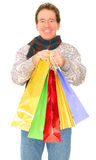 Isolated Senior Man Carrying Shopping Bags Royalty Free Stock Images