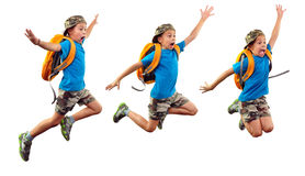 Isolated sequence of child jumping, running to school Royalty Free Stock Photography