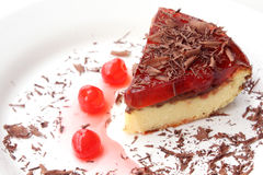 Isolated served slice of delicious cherry cheese cake Royalty Free Stock Photography