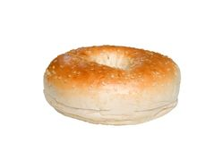 Isolated sesame seed bagel close up Royalty Free Stock Photos