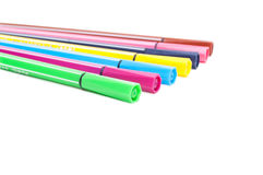 Isolated set of colored felt-tip pens on white Stock Photos