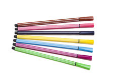 Isolated set of colored felt-tip pens on white Royalty Free Stock Images