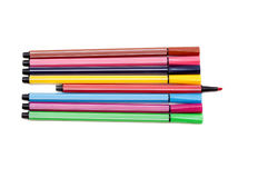 Isolated set of colored felt-tip pens on white. Background royalty free stock photo