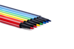 Isolated set of colored felt-tip pens on white. Background stock image