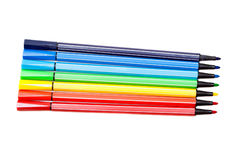 Isolated set of colored felt-tip pens on white. Background stock photo