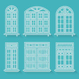 Isolated set of contour windows with shadows in a flat style. Royalty Free Stock Photos