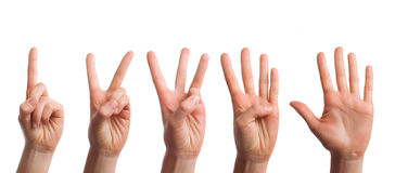 Isolated set of counting hands on a white background Royalty Free Stock Image