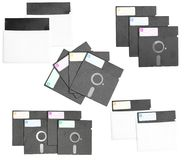 Isolated set of diskette retro vintage old computer Stock Images