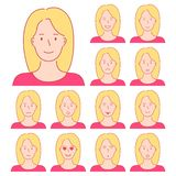 Isolated set of female avatar expressions. Different emotions of stock photos