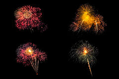 Isolated set of fireworks on black background with clipping path stock photo