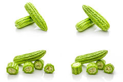 Isolated set of green bitter gourd on the white background Stock Photo