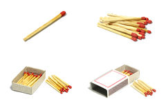 Isolated set of group red match stick with box on white background Stock Photo
