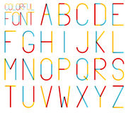 Isolated set of high and thin colorful alphabet Royalty Free Stock Photography
