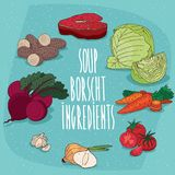 Set of isolated food products for soup Borsch Royalty Free Stock Photography