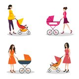 Isolated set of moms with strollers Stock Image