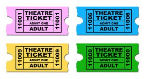 Isolated Set Of Movie Tickets. Four different theatre tickets to admit one adult all isolated on a white background Royalty Free Stock Photography