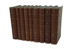 Isolated set of old leather antique books royalty free stock images