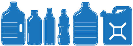 Isolated set - plastic can and bottle Royalty Free Stock Images