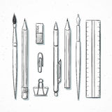Isolated set stationery handmade in sketch style. Writing items Stock Photography