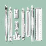Isolated set stationery handmade in sketch style. Writing items Royalty Free Stock Photography