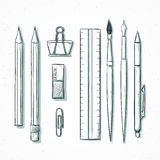 Isolated set stationery handmade in sketch style. Writing items Royalty Free Stock Photo